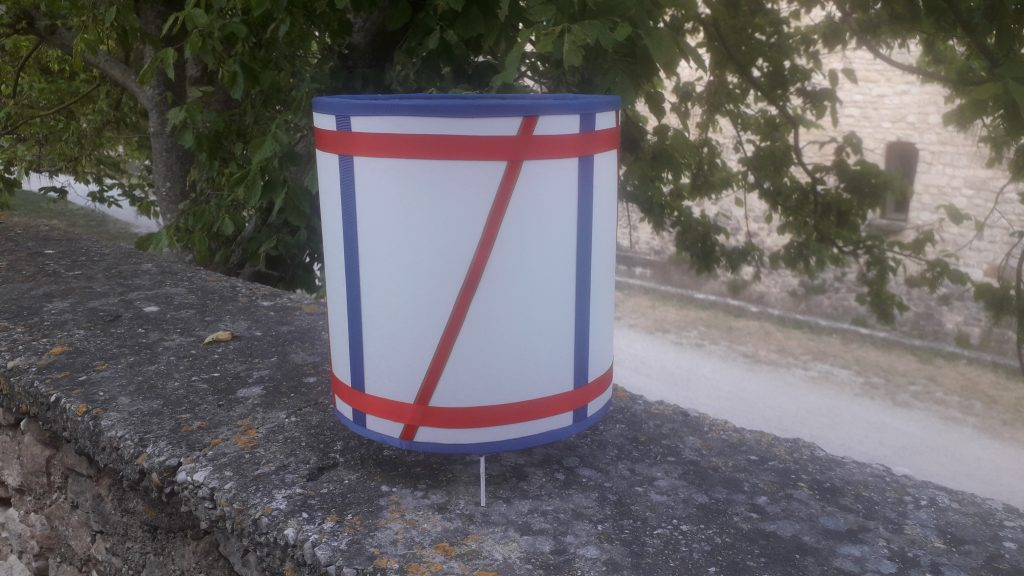 Lampe à poser cylindrique, forme tambour